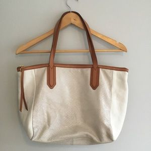 Fossil Leather and Canvas tote